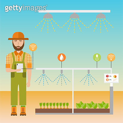 Smart farm flat background