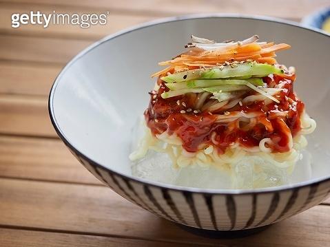 Korean food Ice Bibim noodles, Bibim guksu