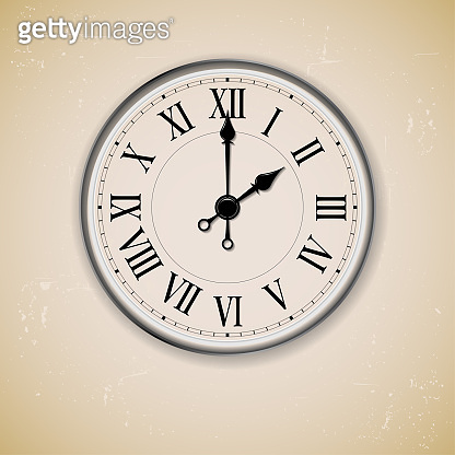 Old antique wall clock on grungy background