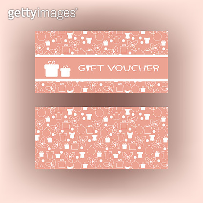 Gift Voucher with Christmas symbols and hand drawn elements.
