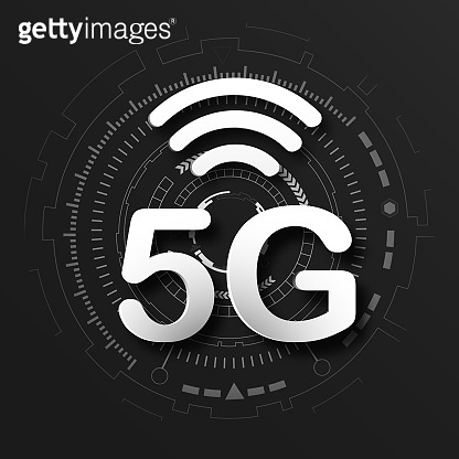5G cellular mobile communication black logo background with global network line link transmission. Digital transformation and technology concept. Massive future device connection high speed internet