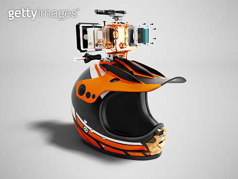 Modern orange motorcycle helmet with orange action camera right 3d render on gray background with shadow