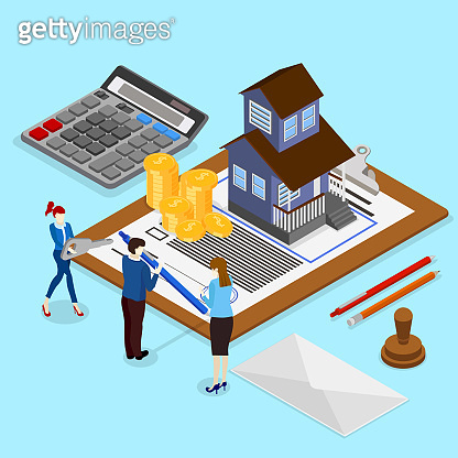 Real estate valuation and insurance. Isometric illustration.