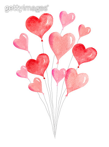 Watercolor vector card with flying balloons in the form of hearts.