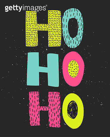 Christmas hand draw greeting cards lettering HoHoHo.