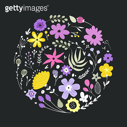 Floral elements in gentle colors isolated on white background.
