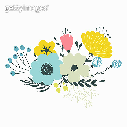 Colorful vector set of floral compositions in gentle colors.