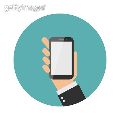 Hand holding smart phone on green background. Flat design