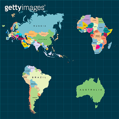 Territory of continents - Africa, Europe, Asia, Eurasia, South America, Australia. Dark background. Vector illustration