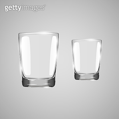 Realistic empty glass. Glass on gray background. Drinking glass. Empty drinking glass cup. Transparent glass. Vector illustration.