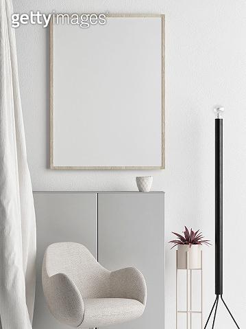 Mock up poster, Scandinavian interior design, your work here