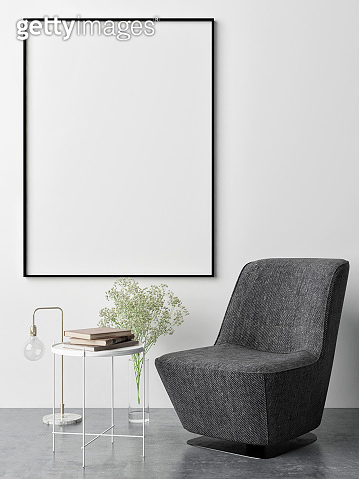 Mock up poster,minimalism concept design, armchair with decoration
