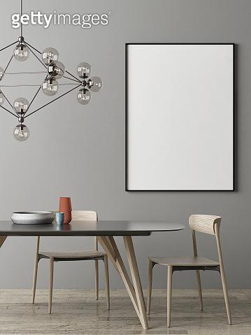 Mock up poster, Dinning room Scandinavian design