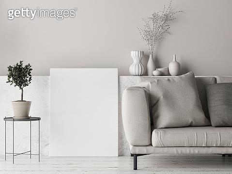 Mock up poster, Scandinavian background design, pastel colored