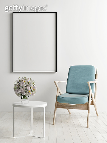 Frame mock up with blue chair