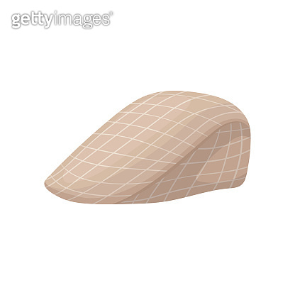 Vintage checkered beret cap with visor. Elegant peaked hat. Trendy men s headwear. Flat vector icon