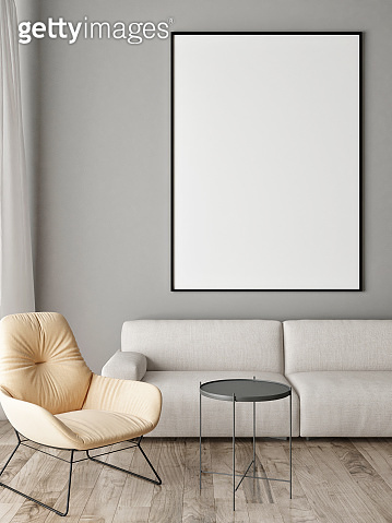 Mock up poster, Comfortable sofa with pillows,