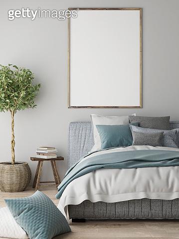 Mock up poster, Bedroom interior concept, Scandinavian design