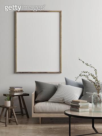 Mock up poster, Scandinavian living room concept design