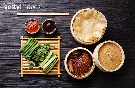 Sliced Peking Duck with cucumber, green onions, cilantro and wheaten pancakes with sauce Hoysin