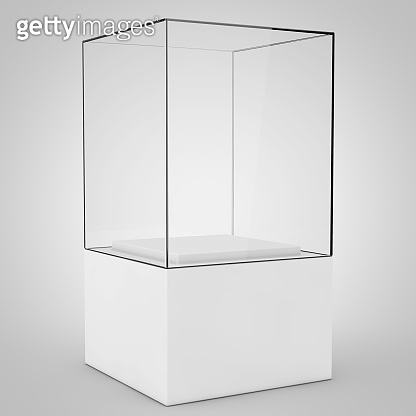 Empty Promotion Glass Showcase with Pedestal. 3d Rendering