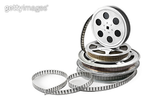 Film in coils isolated on white background.