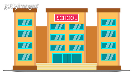 School Building Vector. University House Fasade. College Front Entrance. Isolated Cartoon Illustration