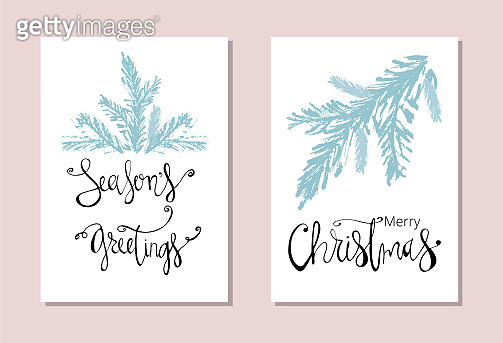 Set of Abstract Hand Drawn Christmas Universal brush Cards.