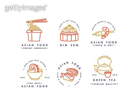 Vector set of logo design templates and emblems or badges. Asian food - noodles, dim sum, soup, sushi. Linear logos.