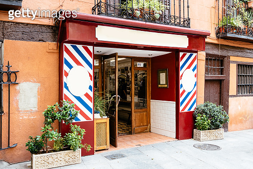 Old Barber shop in Cuchilleros Street in city centre of Madrid