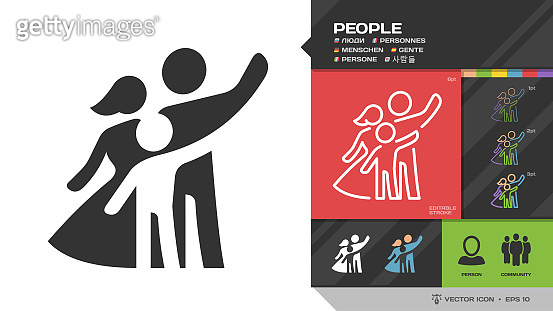 People or family black glyph silhouette and editable stroke thin outline single icon with social group of human: mother, father and kid symbol.