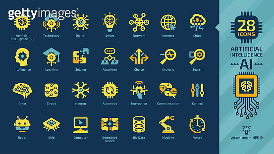 Artificial intelligence yellow icon set on a dark blue background with Ai machine learning, digital technology, smart network, cloud computing, solving, algorithm, analysis, search and choice sign.