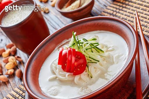 kong-guksu - cold korean soup, top view