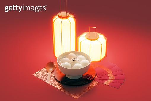 Chinese Lantern Festival food.3d rendering