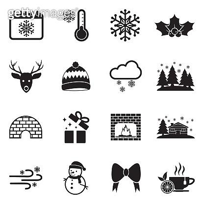 Winter Icons. Set 2. Black Flat Design. Vector Illustration.