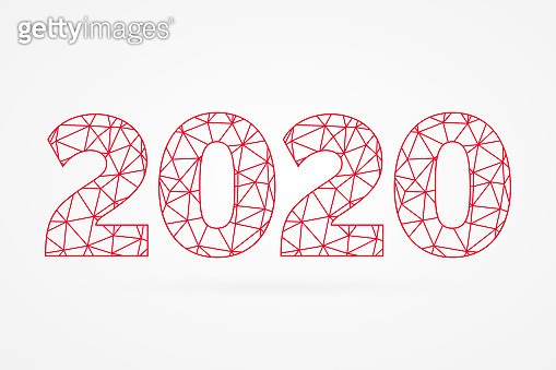 2020 poly vector symbol. Happy New Year abstract triangle illustration for decoration, celebration, winter holiday, infographic, business, calendar, design. Red geometric icon
