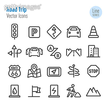 Road Trip Icons - Vector Line Series