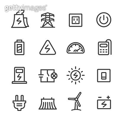 Electricity Icons Set - Line Series