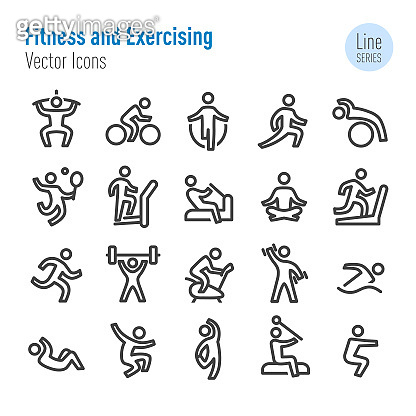 Fitness and Exercising Icons - Vector Line Series