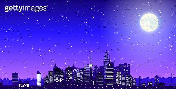 City skyline silhouette at night