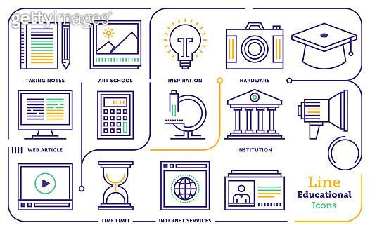 Online Education Degree Line Icon Set