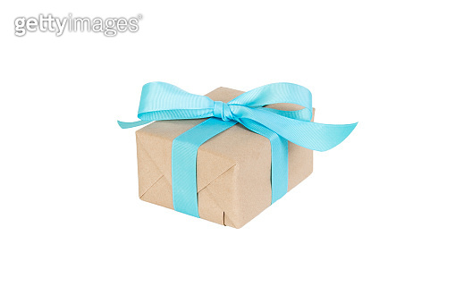 Gift box with blue ribbon isolated on white background. holiday concept you you design. perspective view