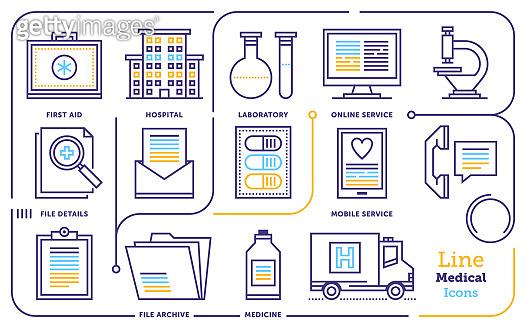 Health Care & Medicine Plans Line Icon Set
