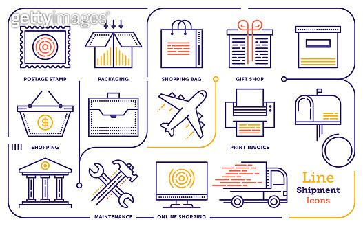 Shopping & Shipping Line Icon Set