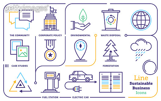 Sustainable Business Line Icon Set