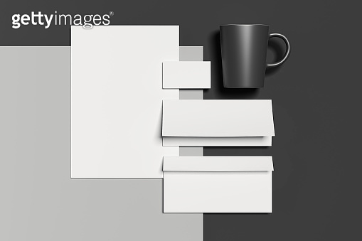 Blank business stationery mock-up, template for branding identity. 3D rendering.