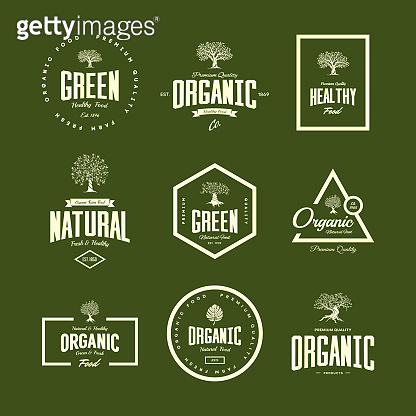 Organic natural and healthy farm fresh food retro emblem set