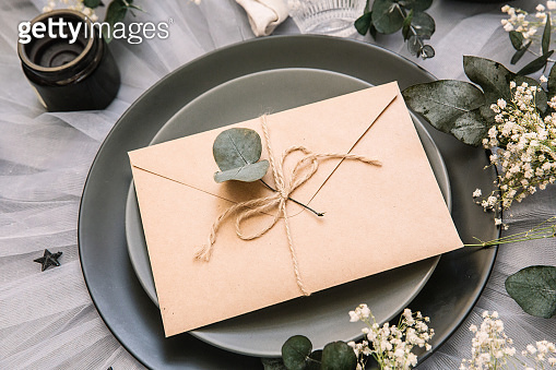 Wedding invitation. reception table setting with shabby chic decorations. Flat lay, top view, copy space