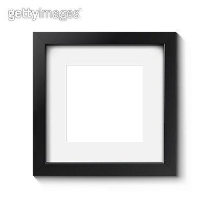 Realistic dark picture frame isolated on a white background.