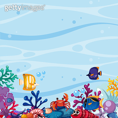Background scene with fish and coral underwater